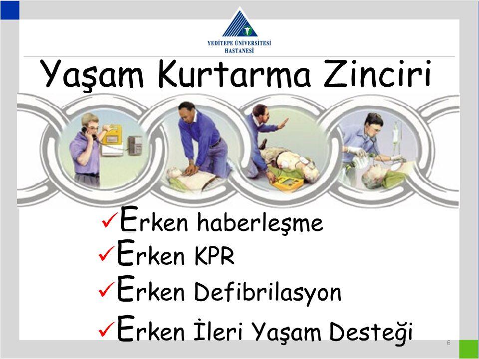 6 Yaşam Kurtarma Zinciri E rken haberleşme E rken KPR E rken Defibrilasyon E rken İleri Yaşam Desteği