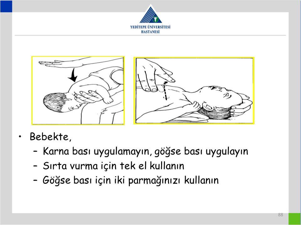 88 Bebekte, –Karna bası uygulamayın, göğse bası uygulayın –Sırta vurma için tek el kullanın –Göğse bası için iki parmağınızı kullanın