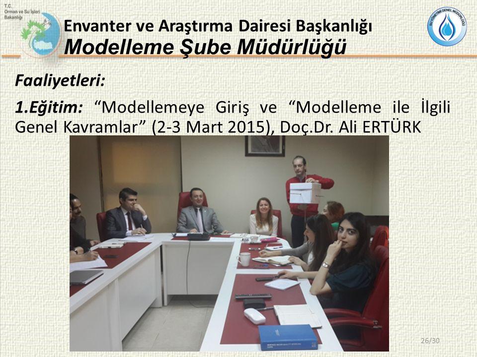 Envanter ve Araştırma Dairesi Başkanlığı Modelleme Şube Müdürlüğü Faaliyetleri: 1.Eğitim: Modellemeye Giriş ve Modelleme ile İlgili Genel Kavramlar (2-3 Mart 2015), Doç.Dr.