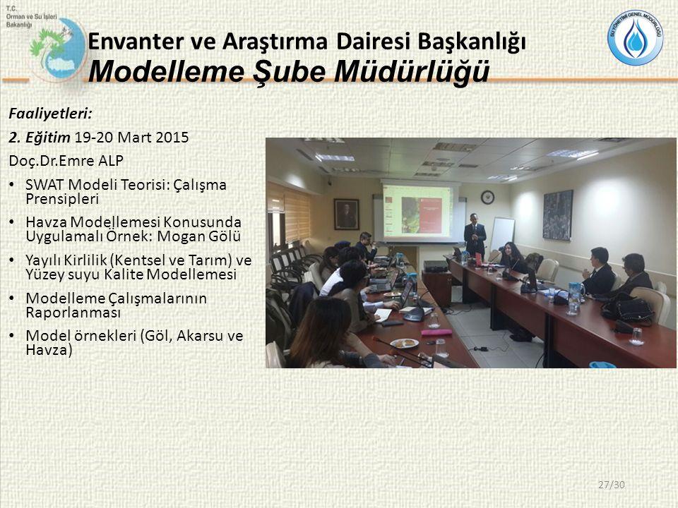 Envanter ve Araştırma Dairesi Başkanlığı Modelleme Şube Müdürlüğü Faaliyetleri: 2.