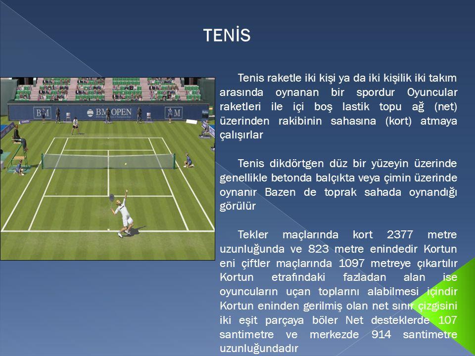 Tenis raketle iki kişi ya da iki kişilik iki takım arasında oynanan bir spordur Oyuncular raketleri ile içi boş lastik topu ağ (net) üzerinden rakibin