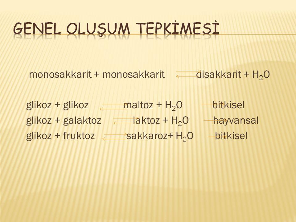 monosakkarit + monosakkarit disakkarit + H 2 O glikoz + glikoz maltoz + H 2 O bitkisel glikoz + galaktoz laktoz + H 2 O hayvansal glikoz + fruktoz sakkaroz+ H 2 O bitkisel