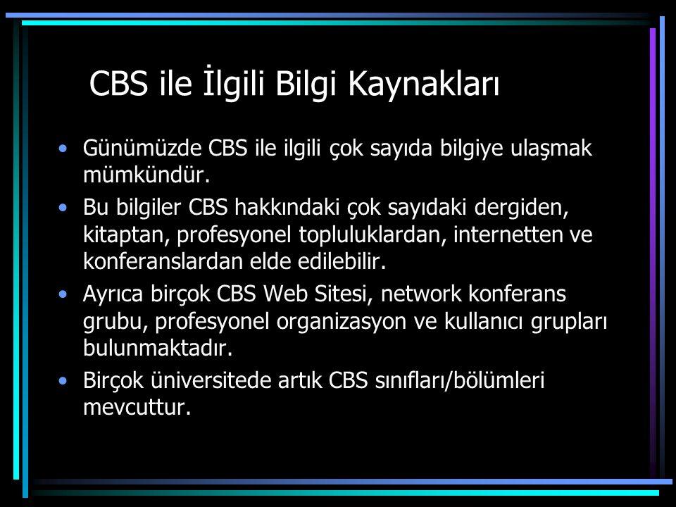 CBS ile İlgili Bilgi Kaynakları Günümüzde CBS ile ilgili çok sayıda bilgiye ulaşmak mümkündür.