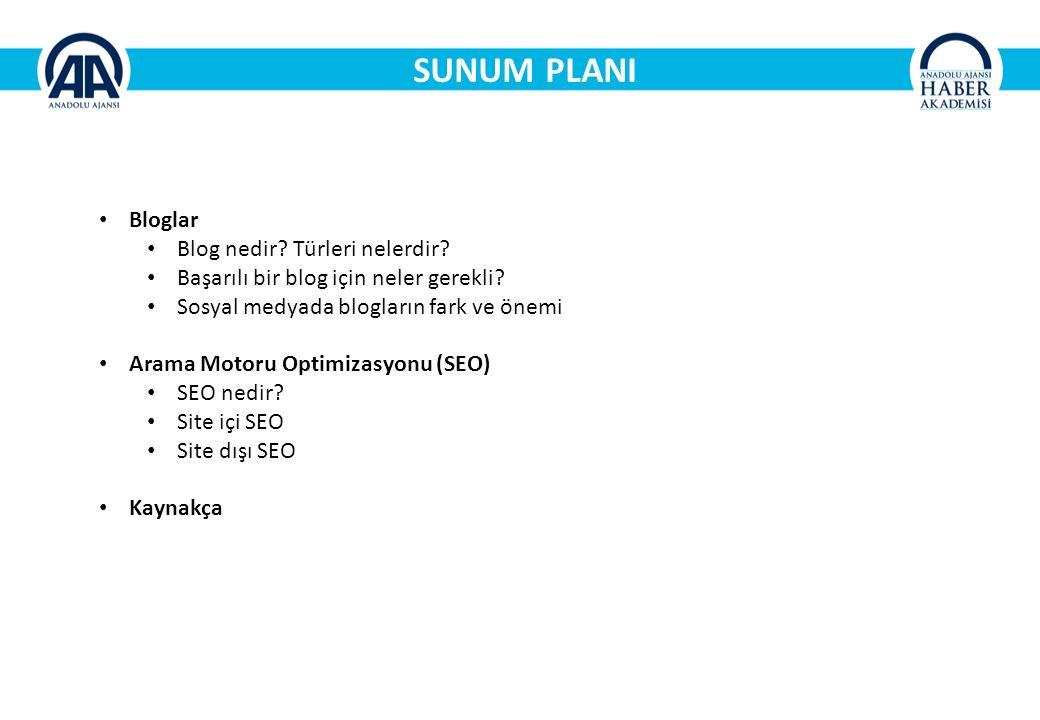 SUNUM PLANI Bloglar Blog nedir.Türleri nelerdir. Başarılı bir blog için neler gerekli.