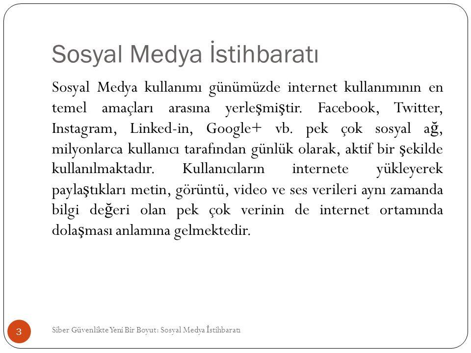 Sosyal Medya İstihbaratı Sosyal Medya kullanımı günümüzde internet kullanımının en temel amaçları arasına yerle ş mi ş tir. Facebook, Twitter, Instagr
