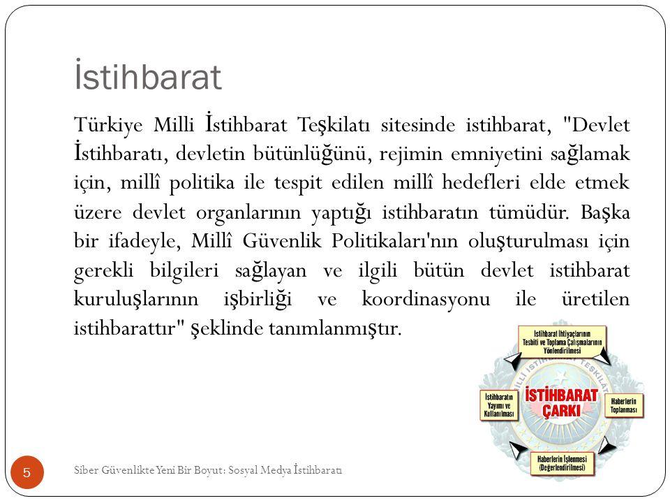 İstihbarat Siber Güvenlikte Yeni Bir Boyut: Sosyal Medya İ stihbaratı 5 Türkiye Milli İ stihbarat Te ş kilatı sitesinde istihbarat,