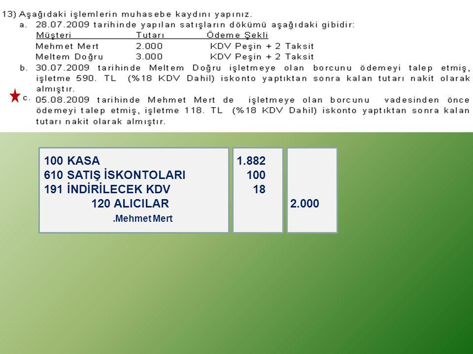 100 KASA 1.882 610 SATIŞ İSKONTOLARI 100 191 İNDİRİLECEK KDV 18 120 ALICILAR 2.000.Mehmet Mert