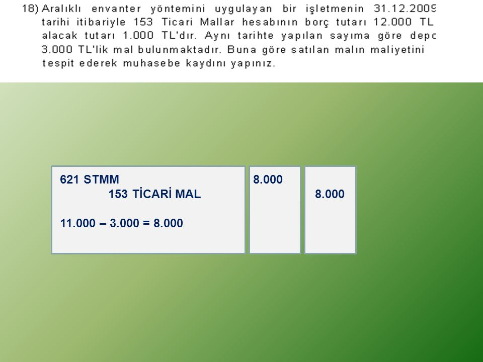 621 STMM 8.000 153 TİCARİ MAL 8.000 11.000 – 3.000 = 8.000