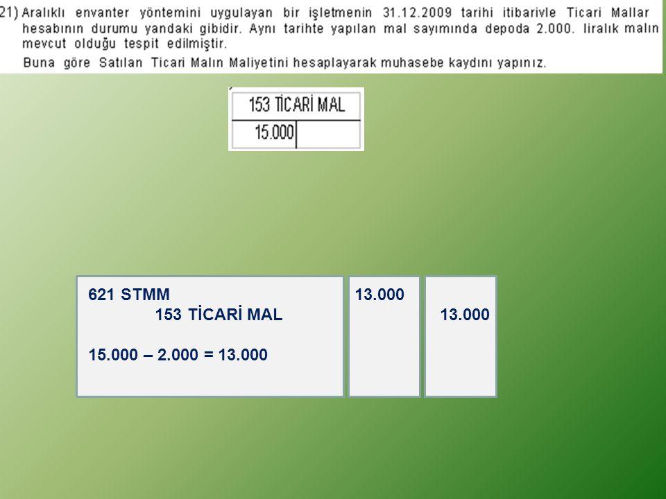 621 STMM 13.000 153 TİCARİ MAL 13.000 15.000 – 2.000 = 13.000