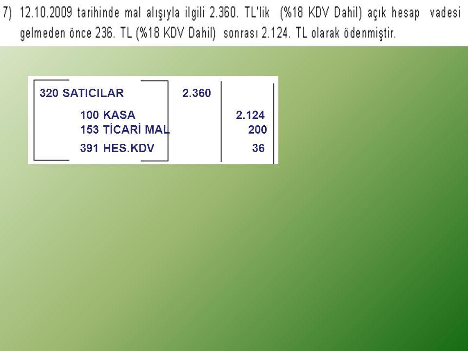 153 TİCARİ MAL 200 100 KASA 2.124 320 SATICILAR 2.360 391 HES.KDV 36