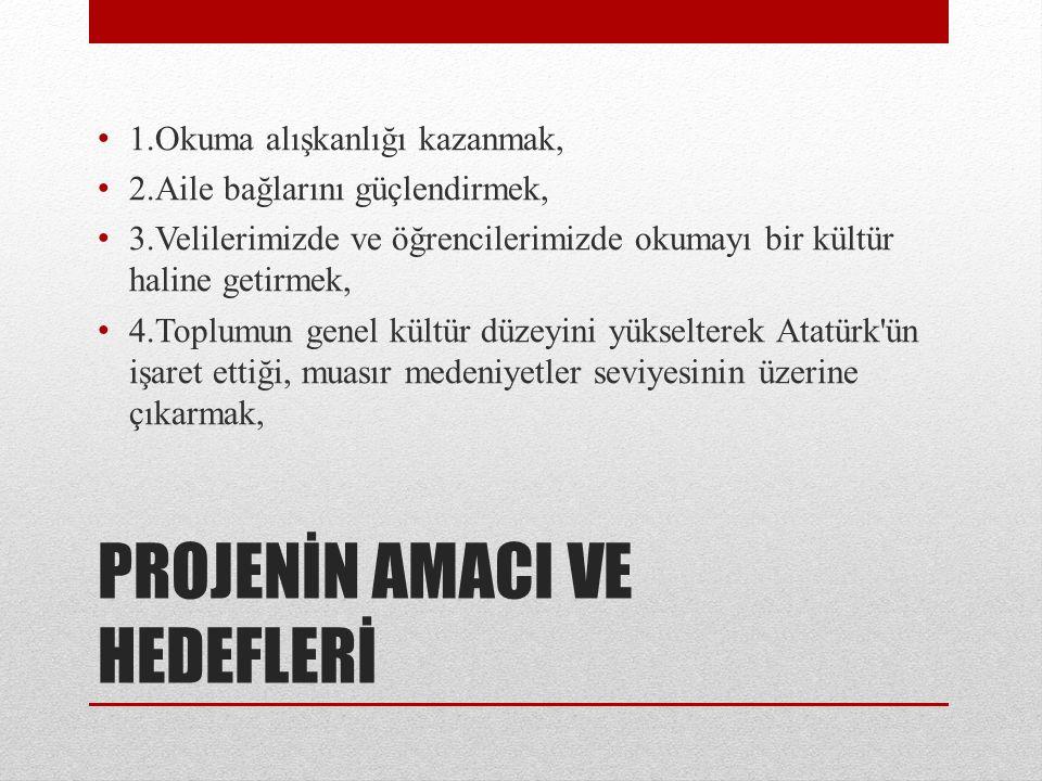 PROJENİN AMACI VE HEDEFLERİ 1.Okuma alışkanlığı kazanmak, 2.Aile bağlarını güçlendirmek, 3.Velilerimizde ve öğrencilerimizde okumayı bir kültür haline getirmek, 4.Toplumun genel kültür düzeyini yükselterek Atatürk ün işaret ettiği, muasır medeniyetler seviyesinin üzerine çıkarmak,