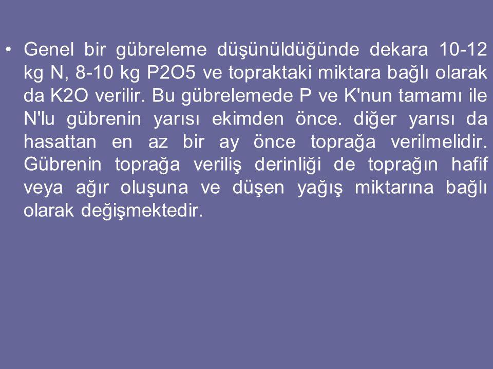 Genel bir gübreleme düşünüldüğünde dekara 10-12 kg N, 8-10 kg P2O5 ve topraktaki miktara bağlı olarak da K2O verilir. Bu gübrelemede P ve K'nun tamamı