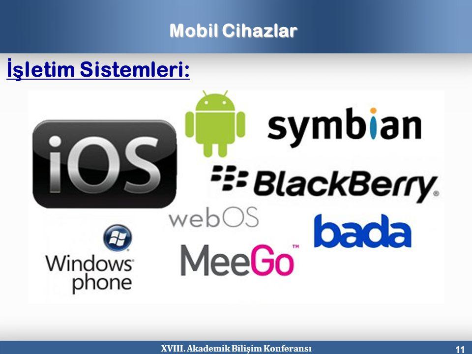 XVIII. Akademik Bilişim Konferansı 11 Mobil Cihazlar İş letim Sistemleri: