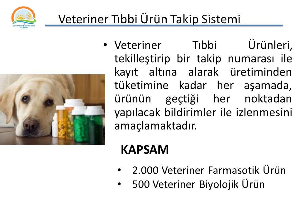 Veteriner Tıbbi Ürün Takip Sistemi Veteriner Tıbbi Ürünleri, tekilleştirip bir takip numarası ile kayıt altına alarak üretiminden tüketimine kadar her