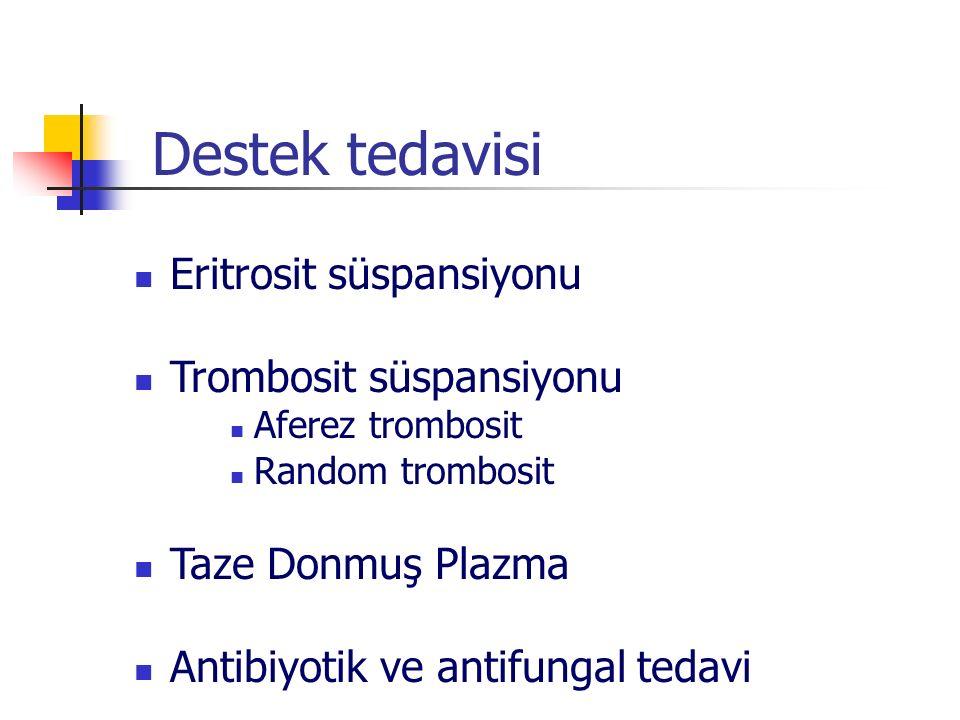 Destek tedavisi Eritrosit süspansiyonu Trombosit süspansiyonu Aferez trombosit Random trombosit Taze Donmuş Plazma Antibiyotik ve antifungal tedavi