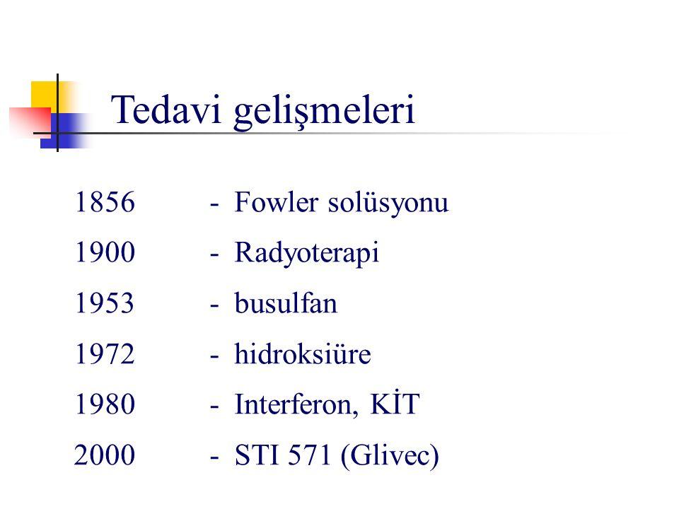 Tedavi gelişmeleri 1856 - Fowler solüsyonu 1900 - Radyoterapi 1953 - busulfan 1972- hidroksiüre 1980- Interferon, KİT 2000 - STI 571 (Glivec)