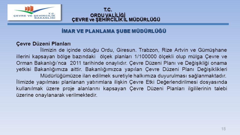 18 Çevre Düzeni Planları İlimizin de içinde olduğu Ordu, Giresun. Trabzon, Rize Artvin ve Gümüşhane illerini kapsayan bölge bazındaki ölçek planları 1
