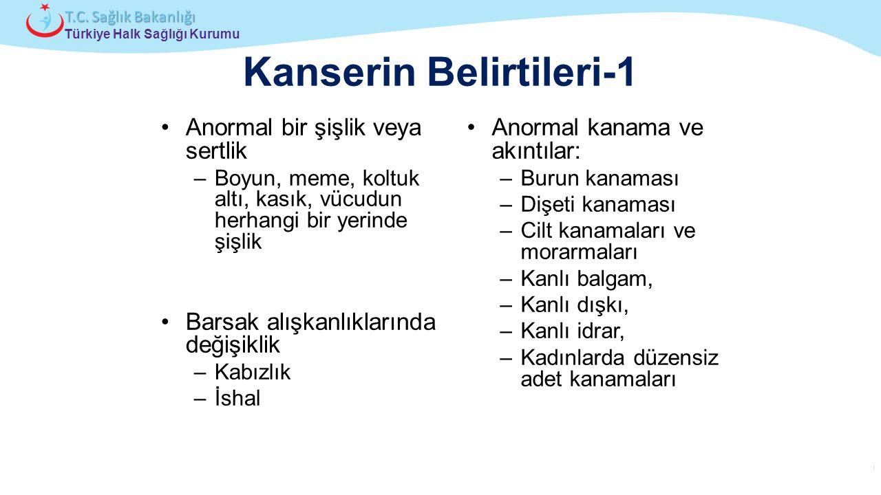 Çocuk ve Ergen Sağlığı Daire Başkanlığı Türkiye Halk Sağlığı Kurumu T.C. Sağlık Bakanlığı Kanserin Belirtileri-1 Anormal bir şişlik veya sertlik –Boyu