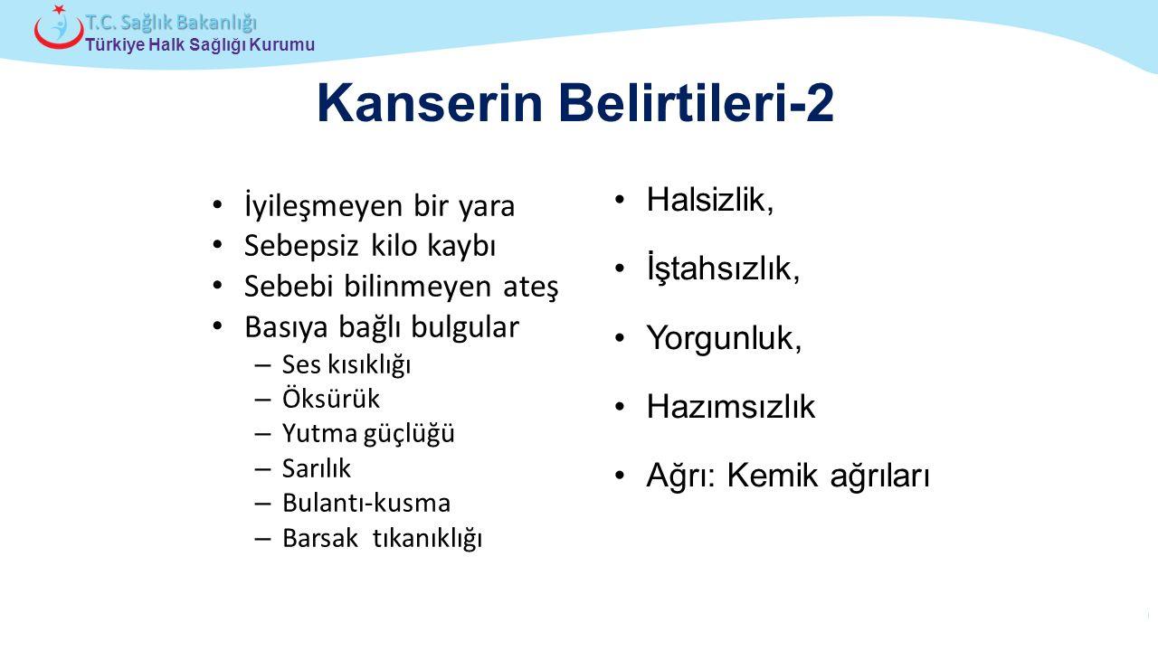 Çocuk ve Ergen Sağlığı Daire Başkanlığı Türkiye Halk Sağlığı Kurumu T.C. Sağlık Bakanlığı Kanserin Belirtileri-2 İyileşmeyen bir yara Sebepsiz kilo ka