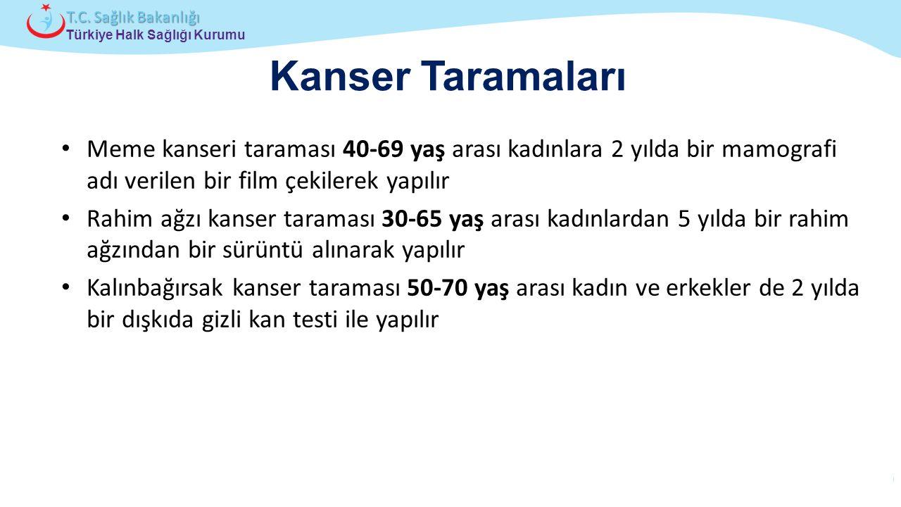 Çocuk ve Ergen Sağlığı Daire Başkanlığı Türkiye Halk Sağlığı Kurumu T.C. Sağlık Bakanlığı Kanser Taramaları Meme kanseri taraması 40-69 yaş arası kadı