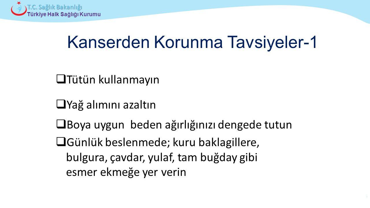 Çocuk ve Ergen Sağlığı Daire Başkanlığı Türkiye Halk Sağlığı Kurumu T.C. Sağlık Bakanlığı Kanserden Korunma Tavsiyeler-1  Tütün kullanmayın  Yağ alı