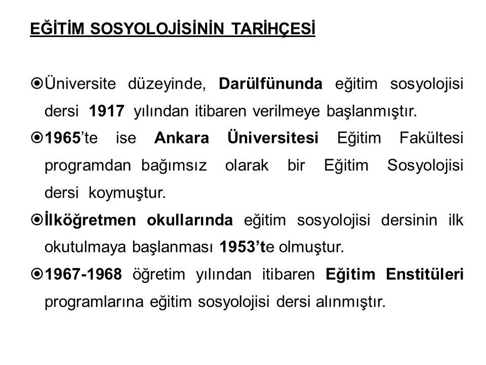 EĞİTİM SOSYOLOJİSİNİN TARİHÇESİ  Üniversite düzeyinde, Darülfünunda eğitim sosyolojisi dersi 1917 yılından itibaren verilmeye başlanmıştır.  1965'te