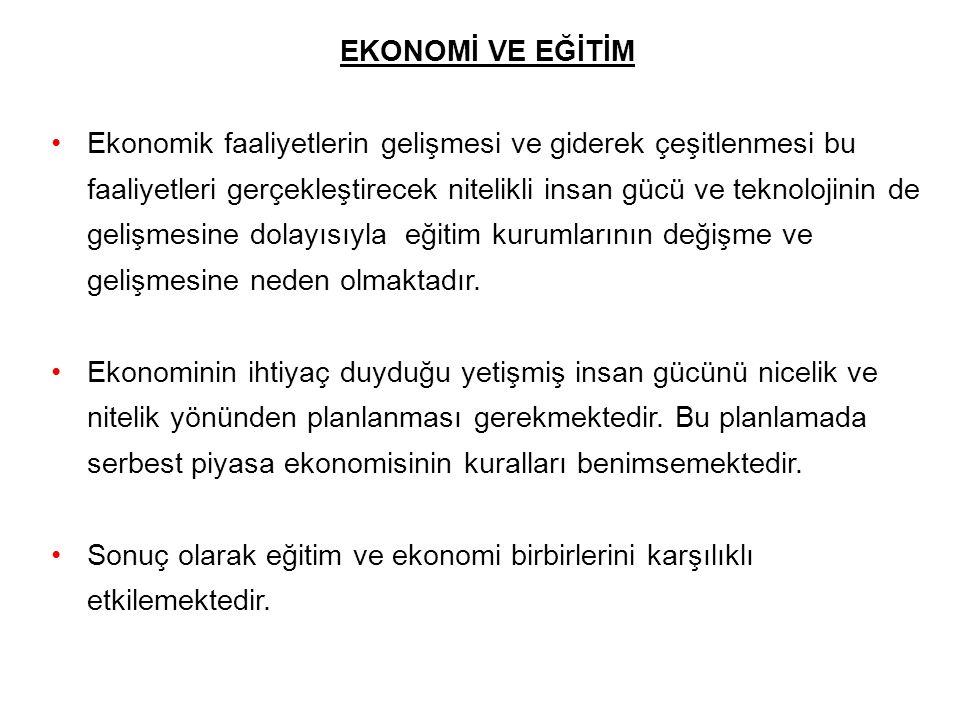 EKONOMİ VE EĞİTİM Ekonomik faaliyetlerin gelişmesi ve giderek çeşitlenmesi bu faaliyetleri gerçekleştirecek nitelikli insan gücü ve teknolojinin de ge