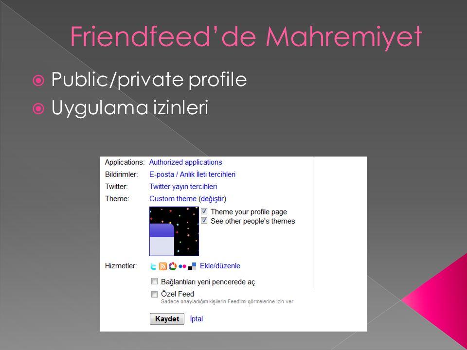  Public/private profile  Uygulama izinleri