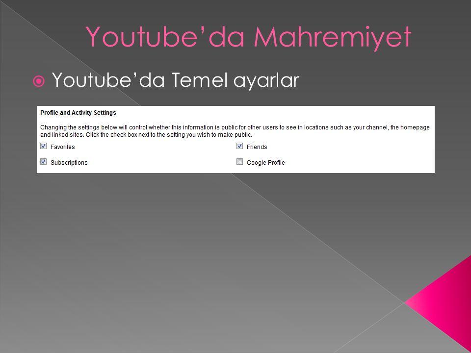  Youtube'da Temel ayarlar Youtube'da Mahremiyet