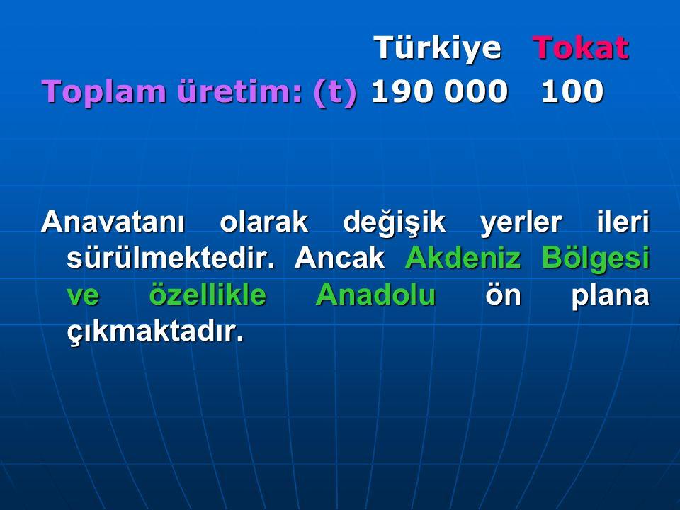 Türkiye Tokat Türkiye Tokat Toplam üretim: (t) 190 000 100 Anavatanı olarak değişik yerler ileri sürülmektedir. Ancak Akdeniz Bölgesi ve özellikle Ana