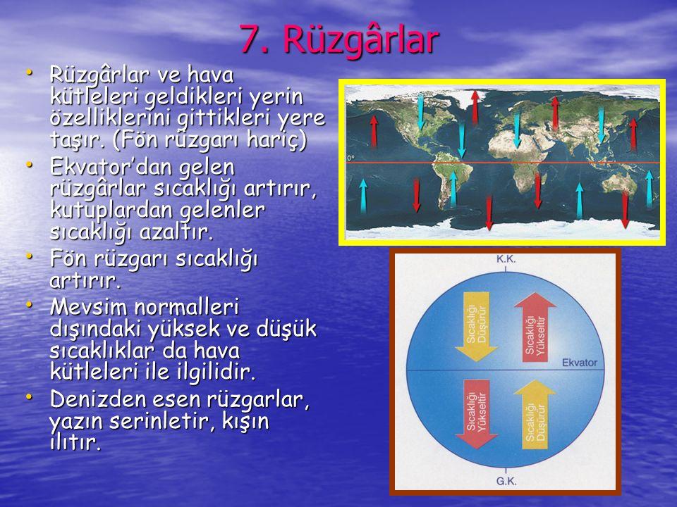 6.Okyanus Akıntıları İzoterm eğrilerinin denizler üzerinde enleme uymamasına yapmasına neden olur.
