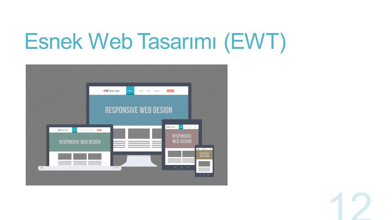 Esnek Web Tasarımı (EWT) Web uygulamalarının cihazlara göre kendilerini şekillendirebilmeleri genel olarak arayüz yapısının esnekliği olarak da tanımlanabilir.