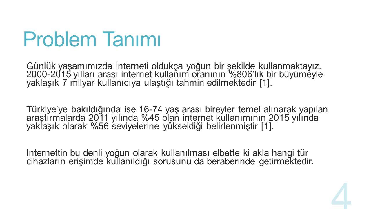 Problem Tanımı Türkiye İstatistik Kurumu tarafından akıllı telefonların ve cep telefonlarının bir arada tutularak bilişim teknolojileri sahiplenme oranlarının araştırıldığı bir çalışmada 2010 yılında %90,5 olan cihaz sahiplenme oranının 2015 yılında %96,8 seviyesine çıktığı belirlenmiştir [5].