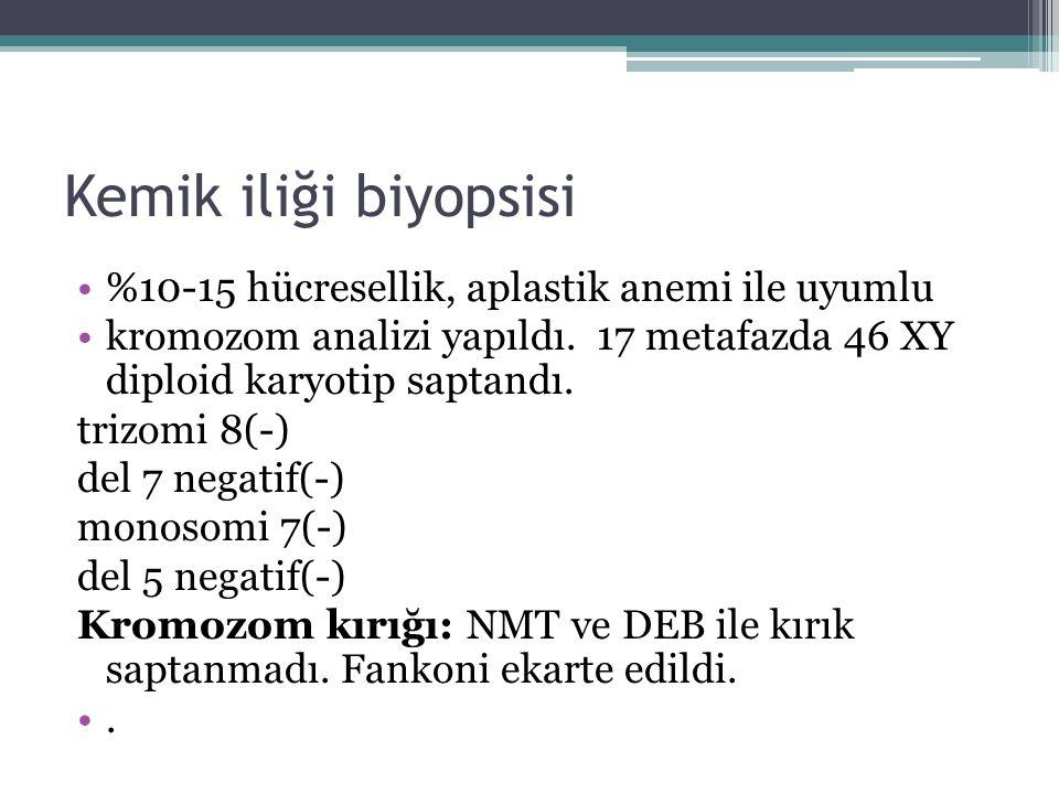 Kemik iliği biyopsisi %10-15 hücresellik, aplastik anemi ile uyumlu kromozom analizi yapıldı. 17 metafazda 46 XY diploid karyotip saptandı. trizomi 8(