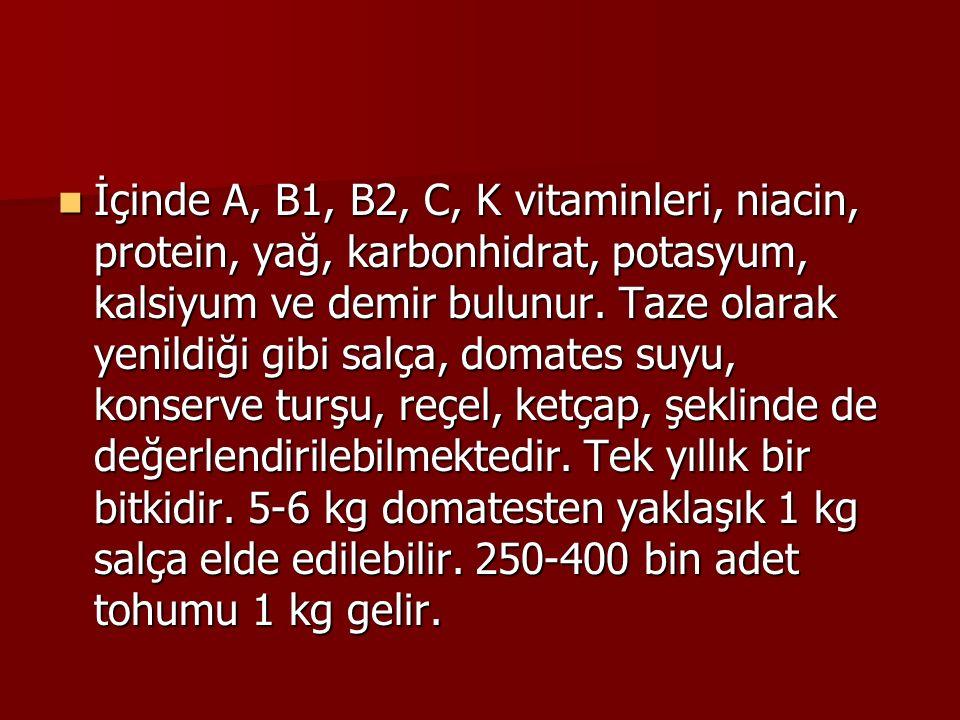 İçinde A, B1, B2, C, K vitaminleri, niacin, protein, yağ, karbonhidrat, potasyum, kalsiyum ve demir bulunur. Taze olarak yenildiği gibi salça, domates