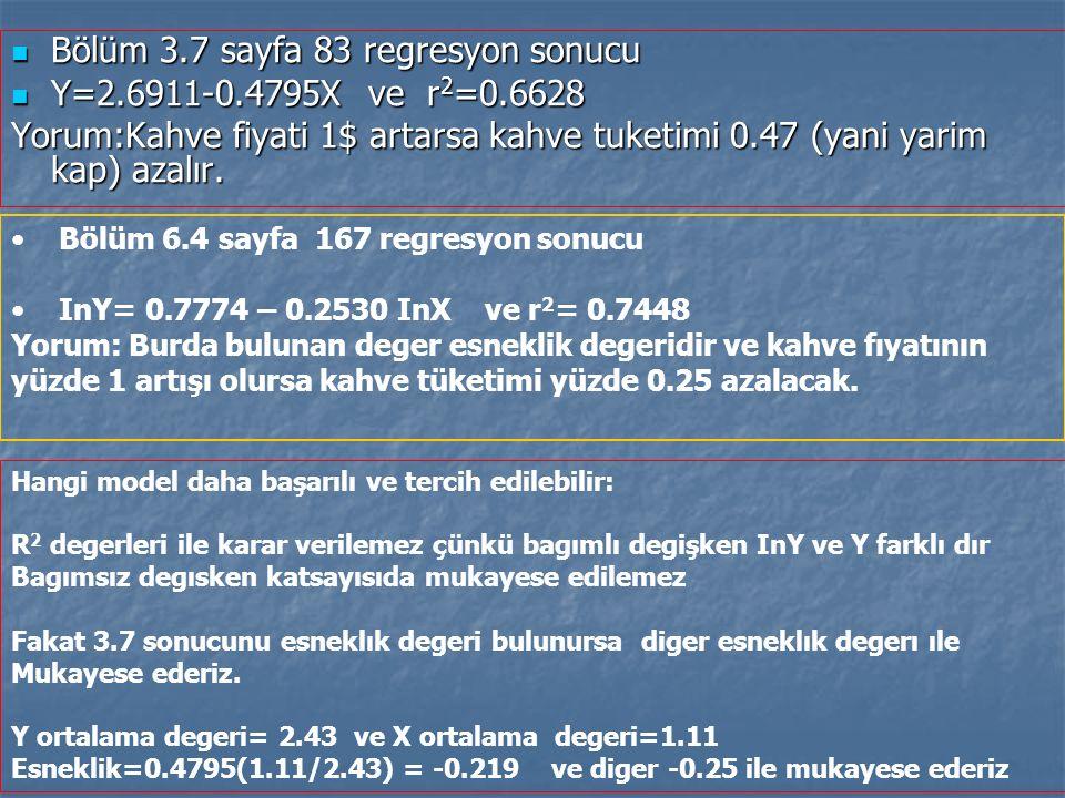Bölüm 3.7 sayfa 83 regresyon sonucu Bölüm 3.7 sayfa 83 regresyon sonucu Y=2.6911-0.4795X ve r 2 =0.6628 Y=2.6911-0.4795X ve r 2 =0.6628 Yorum:Kahve fi