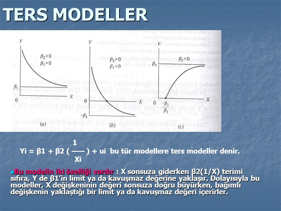 TERS MODELLER 1 Yi = β1 + β2 ( —— ) + ui bu tür modellere ters modeller denir. Xi Bu modelin iki özelliği vardır : X sonsuza giderken β2(1/X) terimi s