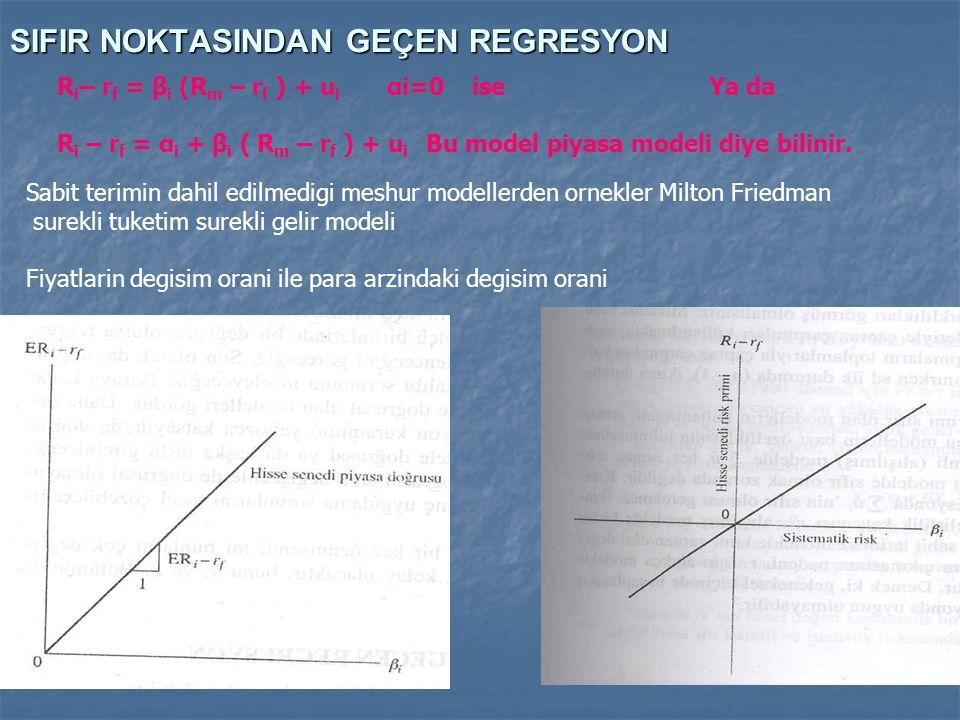SIFIR NOKTASINDAN GEÇEN REGRESYON R i – r f = β i (R m – r f ) + u i αi=0 ise Ya da R i – r f = α i + β i ( R m – r f ) + u i Bu model piyasa modeli d
