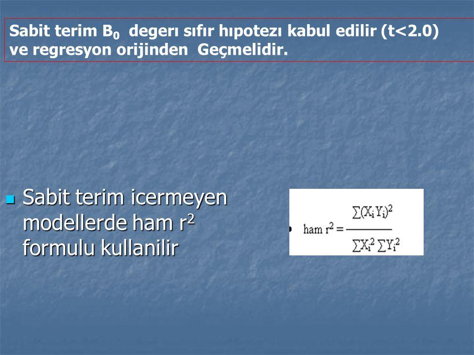 Sabit terim icermeyen modellerde ham r 2 formulu kullanilir Sabit terim icermeyen modellerde ham r 2 formulu kullanilir Sabit terim B 0 degerı sıfır h