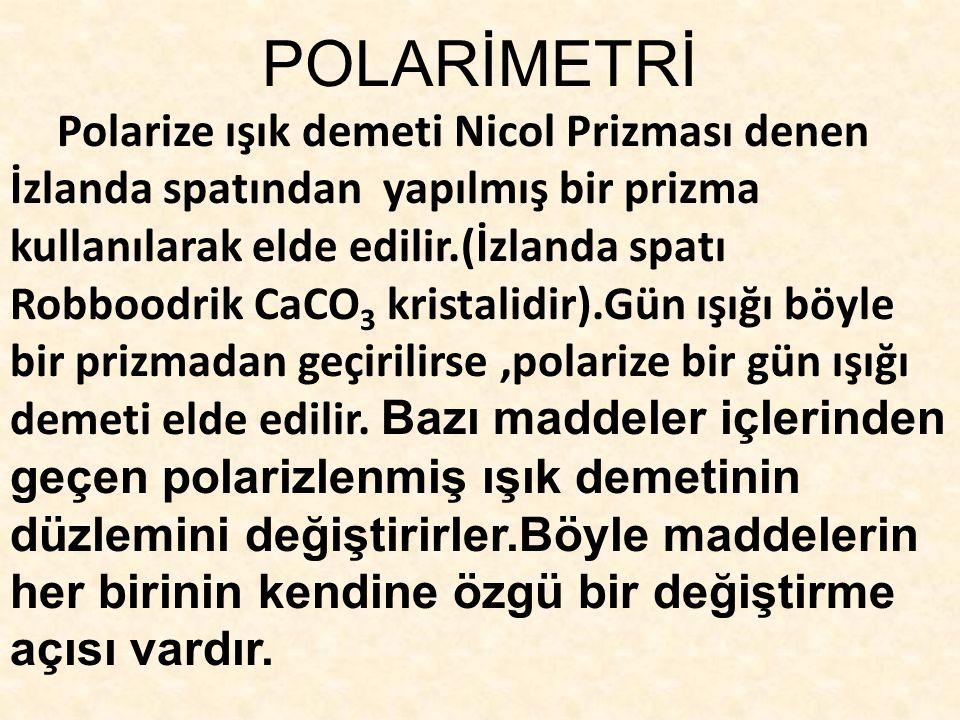 POLARİMETRİ Polarize ışık demeti Nicol Prizması denen İzlanda spatından yapılmış bir prizma kullanılarak elde edilir.(İzlanda spatı Robboodrik CaCO 3