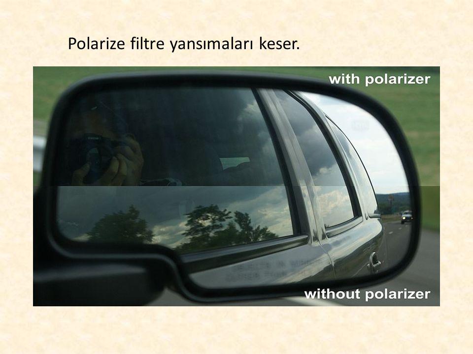 Polarize filtre yansımaları keser.