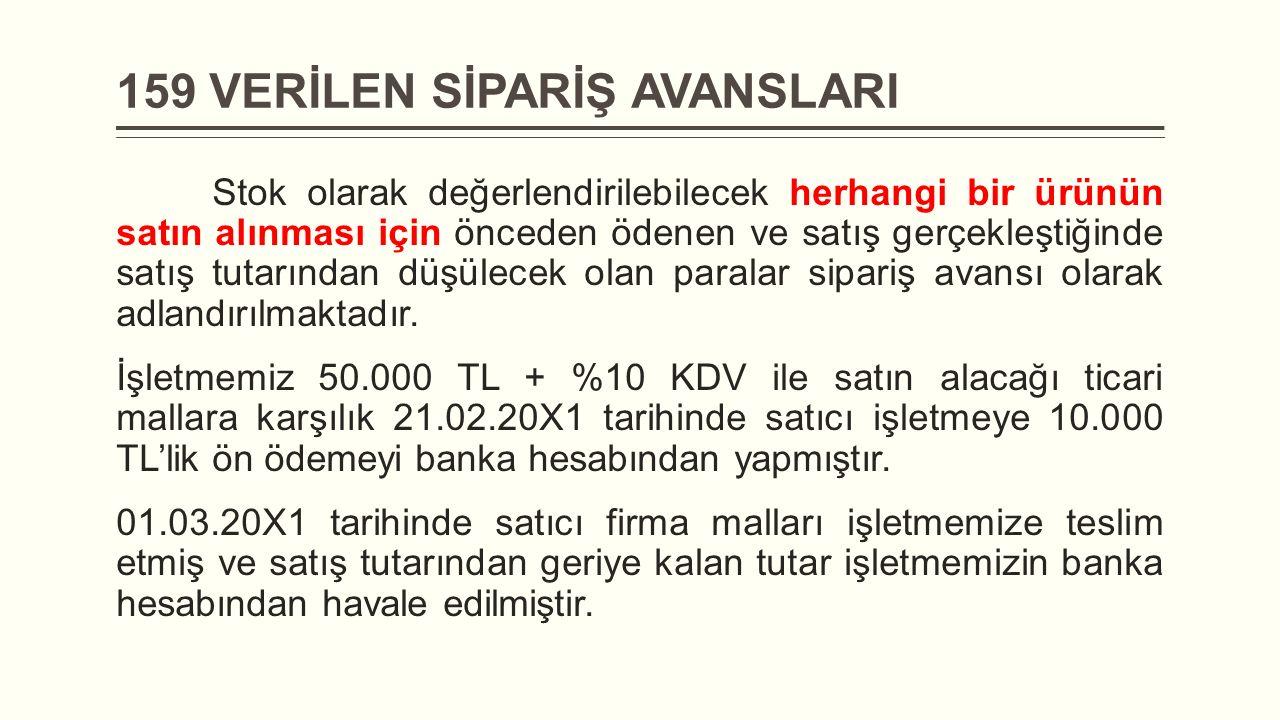 159 VERİLEN SİPARİŞ AVANSLARI Stok olarak değerlendirilebilecek herhangi bir ürünün satın alınması için önceden ödenen ve satış gerçekleştiğinde satış