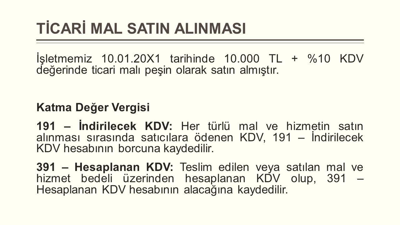 TİCARİ MAL SATIN ALINMASI İşletmemiz 10.01.20X1 tarihinde 10.000 TL + %10 KDV değerinde ticari malı peşin olarak satın almıştır. Katma Değer Vergisi 1