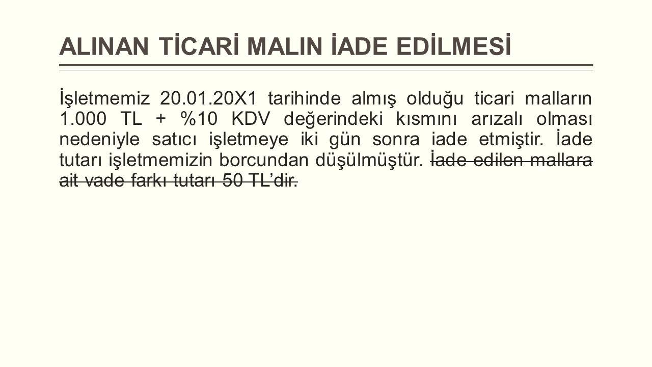 ALINAN TİCARİ MALIN İADE EDİLMESİ İşletmemiz 20.01.20X1 tarihinde almış olduğu ticari malların 1.000 TL + %10 KDV değerindeki kısmını arızalı olması n