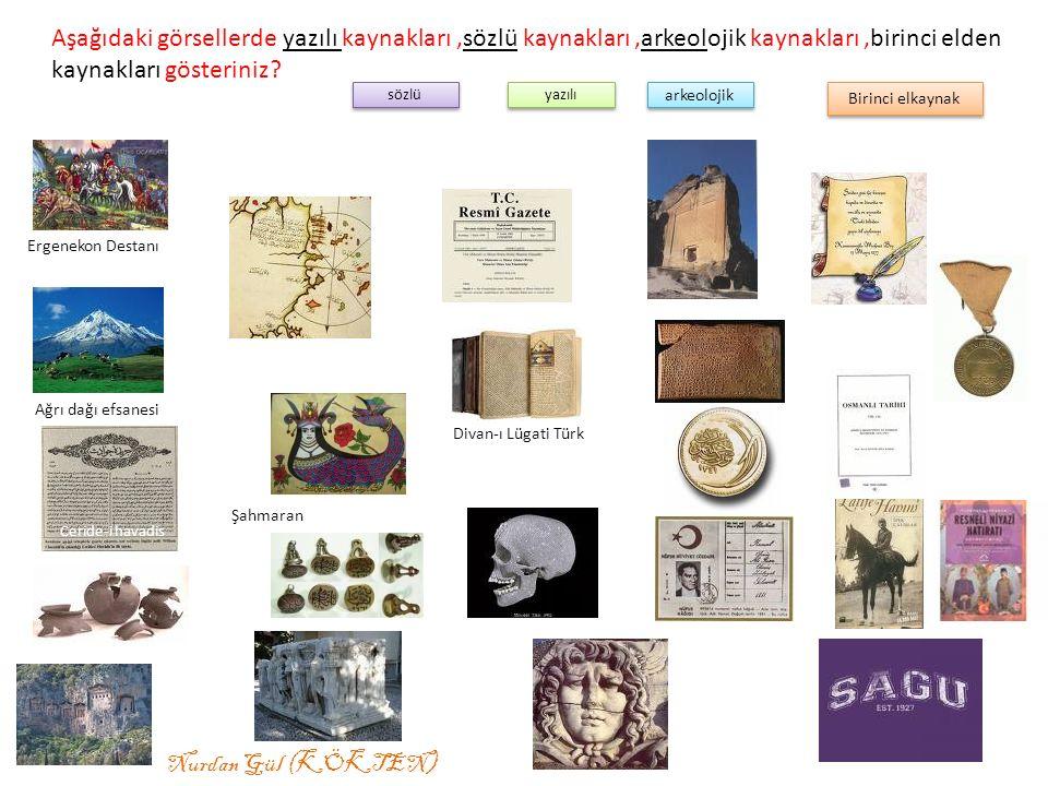 Aşağıdaki görsellerde yazılı kaynakları,sözlü kaynakları,arkeolojik kaynakları,birinci elden kaynakları gösteriniz.