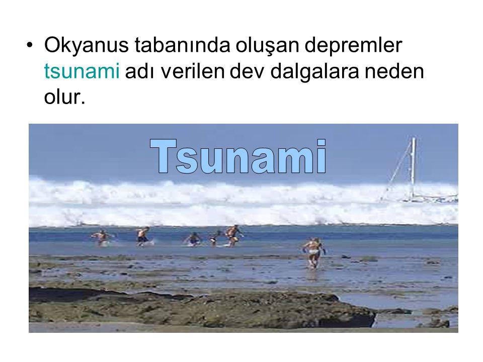 Okyanus tabanında oluşan depremler tsunami adı verilen dev dalgalara neden olur.