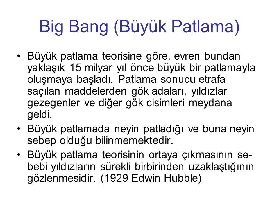 Big Bang (Büyük Patlama) Büyük patlama teorisine göre, evren bundan yaklaşık 15 milyar yıl önce büyük bir patlamayla oluşmaya başladı. Patlama sonucu