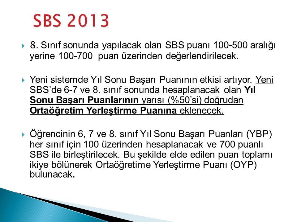  8. Sınıf sonunda yapılacak olan SBS puanı 100-500 aralığı yerine 100-700 puan üzerinden değerlendirilecek.  Yeni sistemde Yıl Sonu Başarı Puanının