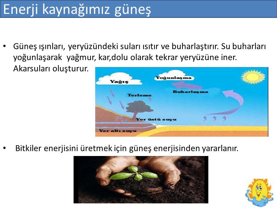 Enerji kaynağımız güneş Güneş ışınları, yeryüzündeki suları ısıtır ve buharlaştırır.