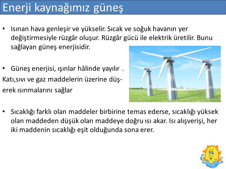 Enerji kaynağımız güneş Isınan hava genleşir ve yükselir.